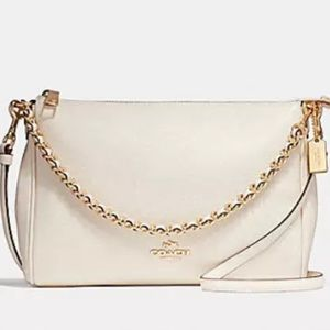 Authentic COACH pebbled white leather Crossbody